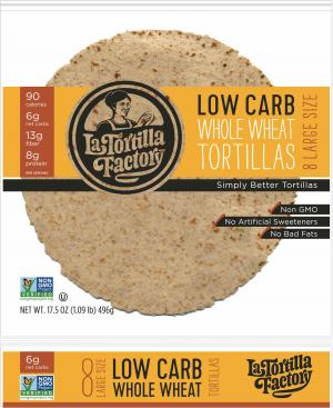 Low Carb Tortillas, Whole Wheat, Large Size